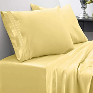 1800 Thread Count Sheet Set – Soft Egyptian Quality Brushed Microfiber Hypoallergenic Sheets – Luxury Bedding Set with Flat Sheet, Fitted Sheet, 2 Pillow Cases, King, Yellow
