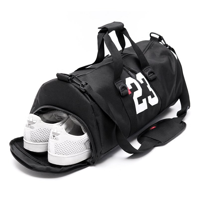 DITDファッションジムバッグスポーツトレーニングバッグ男性のトラベルバッグ女性のポータブルトラベルバッグダッフルバッグショルダートレーニングバッグトラベルバッグJS-02(黒帯の靴)