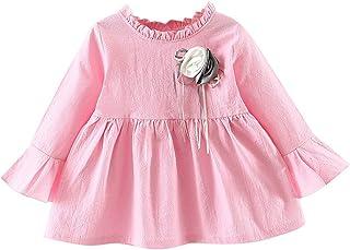 ワンピース 女の子 赤ちゃん服 プリンセスドレス 長袖 無地 フリル袖 オシャレ かわいい お出かけ 通園 お宮参り パーティー 旅行 娘の日 誕生日 プレゼント