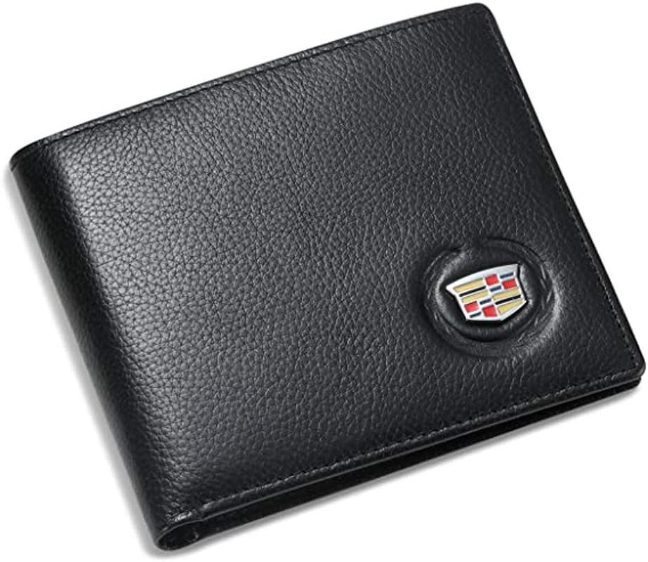 Genuine Leather Bifold Wallet with 3 Card Slots and ID Window Black For Cadillac