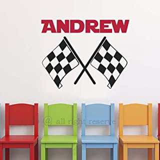 Crossed Racing Flags Wall Decals Personalized Name Vinyl Wall Decal Checkered Flag Wall Decor for Boys Room Teens Room (18
