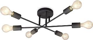 B.K.Licht Lámpara de techo estilo vintage I Lámpara de techo en look retro I 6 focos I 6 bombillas E27 (no incluidas) I es...