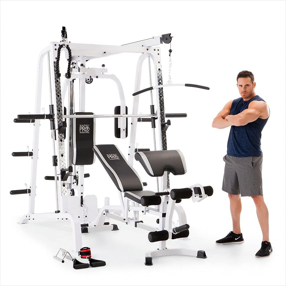 Marcy Diamond Elite Smith Cage Workout Machine Total Body Training Home Gym System with Linear Bearing