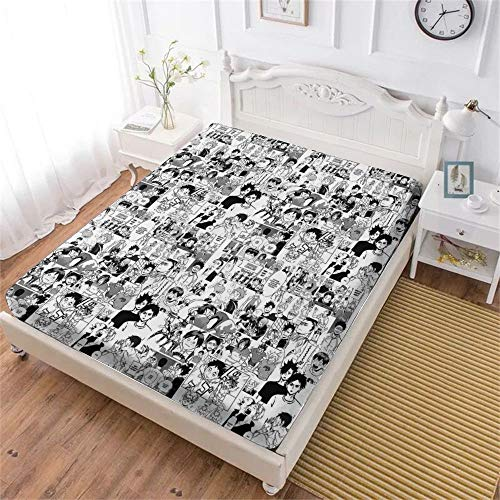 MEW Anime Haikyuu Bedding Fitted Sheets, Soft Decorative Fabric Bedding All-Round Elastic Pocket,Twin - 47x78 inches,Gift for Teenagers and Adults