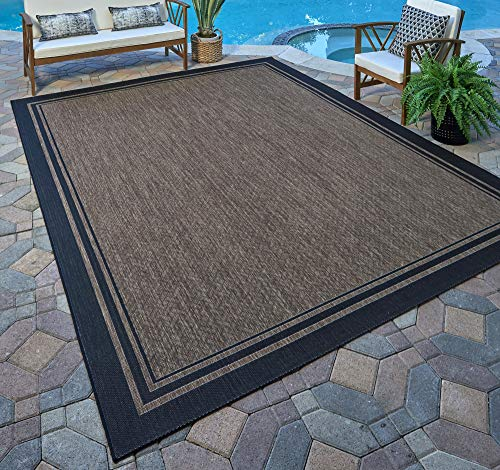 Gertmenian 21490 Coastal Tropical Carpet Outdoor Patio Rug, 5x7 Standard, Nut Brown Black Border