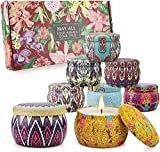 8 Pack Scented Candles Gift Set for Women, Aromatherapy Candles for Home, Soy Wax Portable Lid Tin Large 4.4oz Valentines Day Gifts for her, Birthday Gifts for Her, Romantic Gifts for her, Yoga.