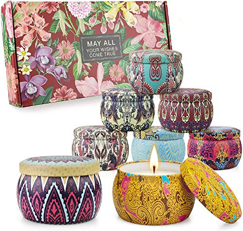 8 Pack Scented Candles Gifts Set for Women,Aromatherapy Candles for Home 100% Soy Wax Portable Lid Tin Large 4.4 Oz Thanksgiving Gifts Set for Yoga Birthday Gifts for Her