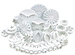 SurePromise 10 Sets (30 PCS) Plunger Cutters SUGARCRAFT Cake Decorating New (Heart, Veined Butterfly, Star, Daisy, veined Rose Leaf,Carnation, Blossom, Flower, Sunflower, Other)