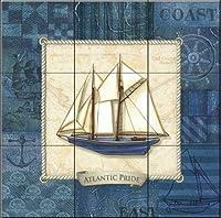 """セラミックタイル壁画–Nautique Sailing II–BY CHARLENE Audrey–キッチンBacksplash/バスルームシャワー 16 Tile Mural on 4 1/4"""" Tile 15-1412-1717-4C"""