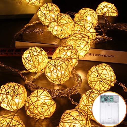 Vipmoon 40 luci LED a sfera in rattan, IP44 5 m alimentate a batteria, 8 modalità di illuminazione per matrimoni, prati, Natale, feste, patio e casa, decorazione per interni ed esterni