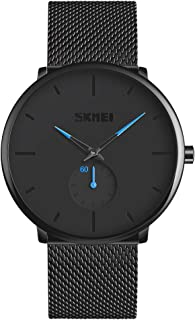 Mens Watches, Fashion Waterproof Quartz Analog Watch, Business Dress Wrist Watches for Men with Stainless Steel Mesh Band