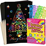 RMJOY Rainbow Scratch Paper Sets: 50pcs Magic Art Craft Scratch Off Papers Supplies Kits Pad for Age 3-12 Kids Girl Boy Teen Toy Game Gift for Birthday|Christmas|Halloween|DIY Activities|Painting