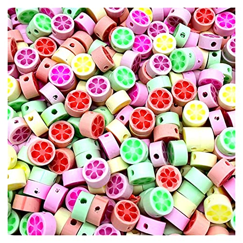 BOSAIYA Zz0 30 unids/Lote 10 mm Beads de Frutas Polímero Clay Beads Color Mezclado Polmer Polmer Spacer Beads para joyería Fabricación de Bricolaje Collar de Pulsera Tl519 (Color : 02)