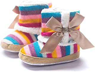 Infant Baby Girl Rainbow Stripe Coral Fleece Snow Boots Shoes with Bowknot