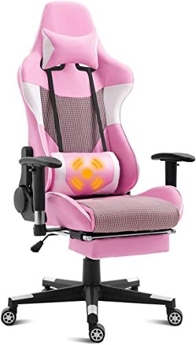 discount Giantex Ergonomic Gaming Chair with Massage Lumbar Support, Pink new arrival High Back Racing Style Chair, Headrest and Footrest, Reclining Height Adjustable sale Task Chair (Pink) online