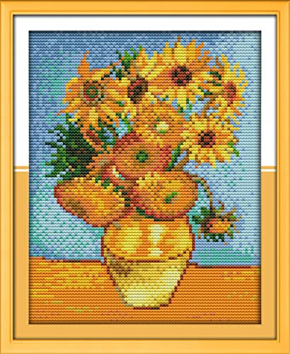 Printed Cross Stitch Kits 11CT 10X13 inch 100% Cotton Holiday Gift DIY Embroidery Starter Kits Easy Patterns Embroidery for Girls Crafts DMC Stamped Cross-Stitch Supplies Needlework Sunflower