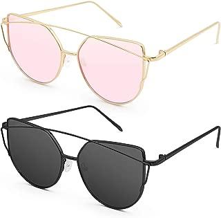 Sunglasses for Women, Cat Eye Mirrored + Transparent Flat Lenses Metal Frame Sunglasses UV400
