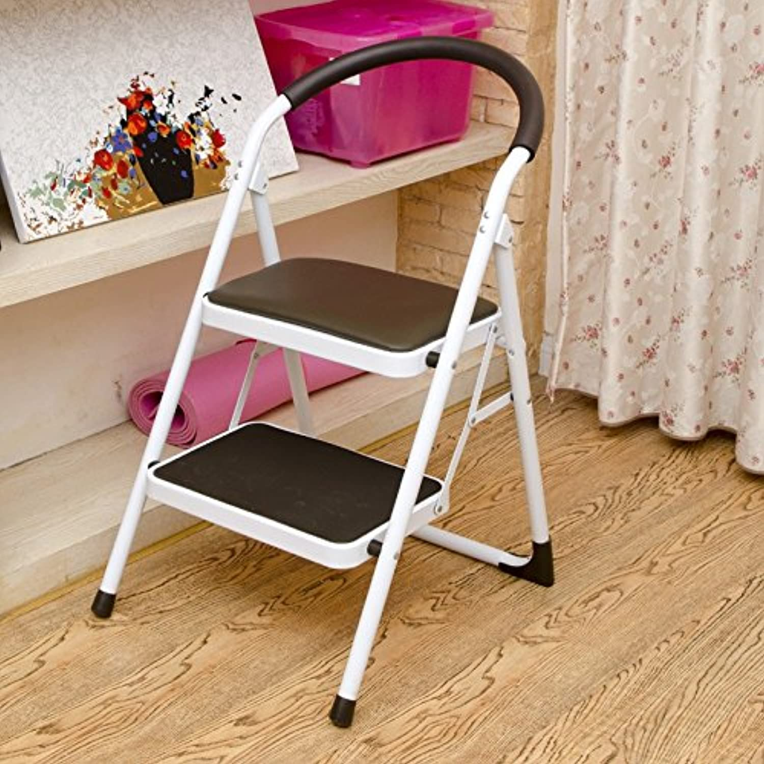 WFFXLL 2-Step Ladder Stool Matal Steel Thick Folding Stool with Anti-Slip mat, Suitable for Adult 150kg Multi-Function Stool Step Stool (color   Brown)
