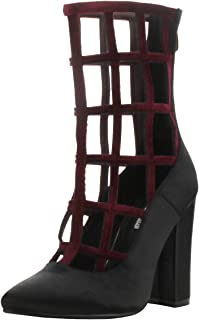 Womens Pointy Toe Chunky Heel Caged Cutout Gladiator Ankle Booties Boot