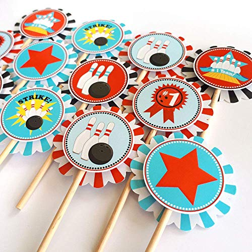 Boy Bowling Cupcake Toppers - Kid Birthday Entertainment Sports Party Cake Supplies - Set of 12