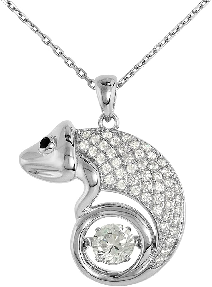 Sterling silver Dancing CZ Max 46% OFF Chameleon Houston Mall Necklace Eyes Black Micro P