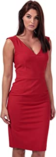 French Connection Womens Glass Stretch V-Neck Dress in Blazer red.