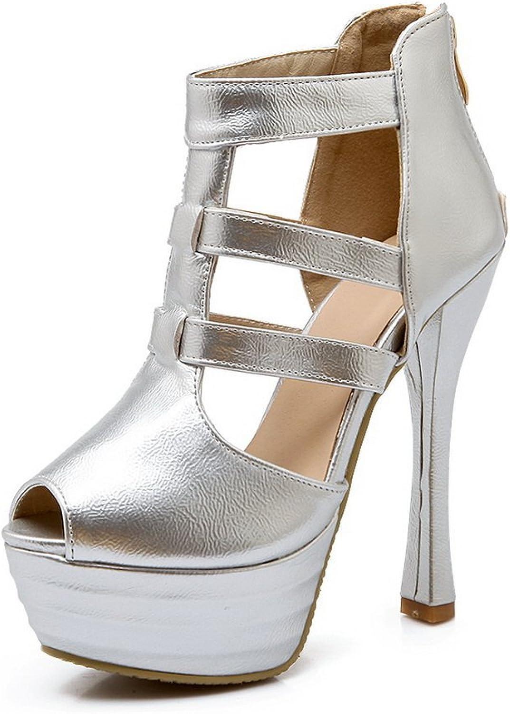 1TO9 Womens Zipper Peep-Toe Polyurethane Sandals