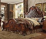 ACME Dresden Eastern King Bed - 23137EK - PU & Cherry Oak