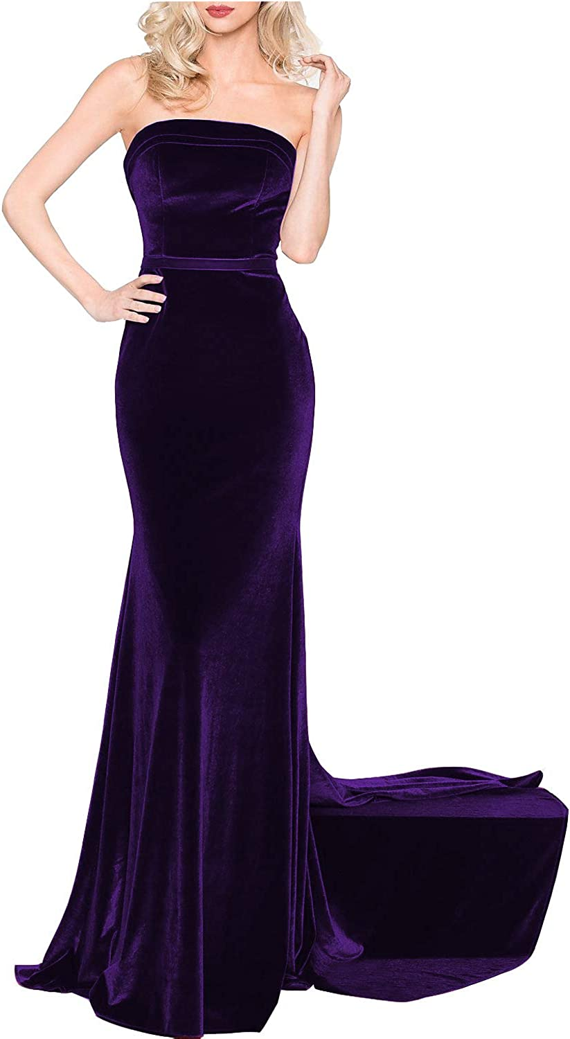 CCBubble Women Mermaid Velvet Prom Dresses Strapless Long Evening Formal Gowns
