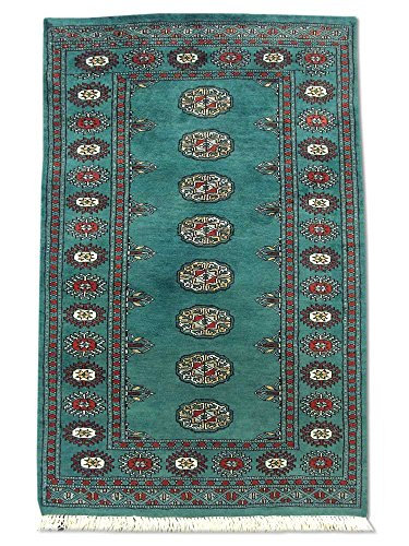 Pak Persian Rugs Tapis Noué Main Boukhara, Vert Jungle Profond, Laine, Small, 79 X 123 cm