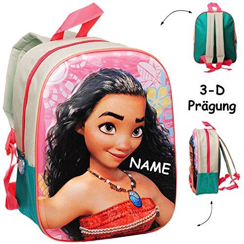 alles-meine.de GmbH 3-D Präge - Effekt _ Kinder Rucksack -  Disney - Vaiana  - inkl. Name - Tasche - beschichtet & wasserfest - Kinderrucksack / groß Kind - Mädchen - z.B. für ..