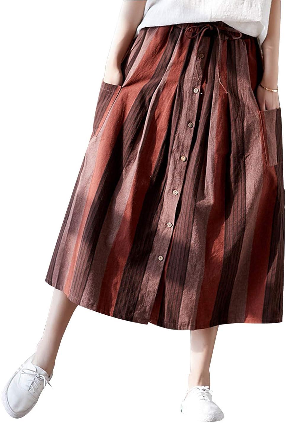 Badgirls Women's Casual Elastic Drawstring Waist A-line Stripe Midi Skirts