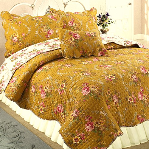 Cozy Line Home Fashions Camellia Perry Mustard Yellow Floral Blooming Flower Printed Cotton Vintage Quilt Bedding Set Reversible Coverlet Bedspread for Women (Camellia, King - 3 Piece)