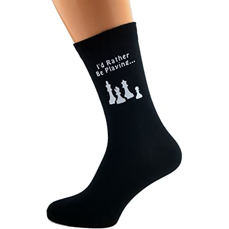 I'd Rather be Playing Chess with Chess Pieces Image Design Mens Black Cotton Rich Socks