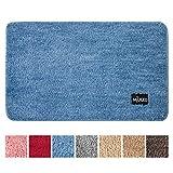 Miulee alfombra de pelusa rizada suave antipolvo antideslizante absorbente alfombra cuadrada lavable de piso puertas de entrada pasillo para dormitorio sala de estar cocina 43 cm x 60 cm azul