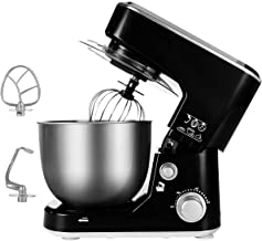Stand Mixer, Cusimax 5-Quart 800W Dough Mixer, Tilt-Head Electric Mixer with Stainless Steel Bowl, Dough Hook, Mixing Beater and Whisk, CMKM-150, Black