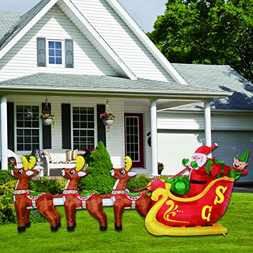 12Foot Long Christmas Inflatable Decoration Santa Claus on Sleigh with 3 Reindeer Build-in LED Blow Up Self-Inflatable for Christmas, Party Indoor, Outdoor, Yard, Garden, Lawn Décor.