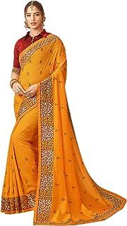 تصميم أصفر للنساء الهندية أزياء بوليوود نمط يتوهم إثنيك احتفالي ارتداء جميل ساري 6222