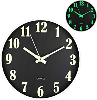 OURISE Modern Night Light Function Wall Clocks,12 Inches Silent & Non-Ticking Large Numbers Round Clocks for Office, Kitch...