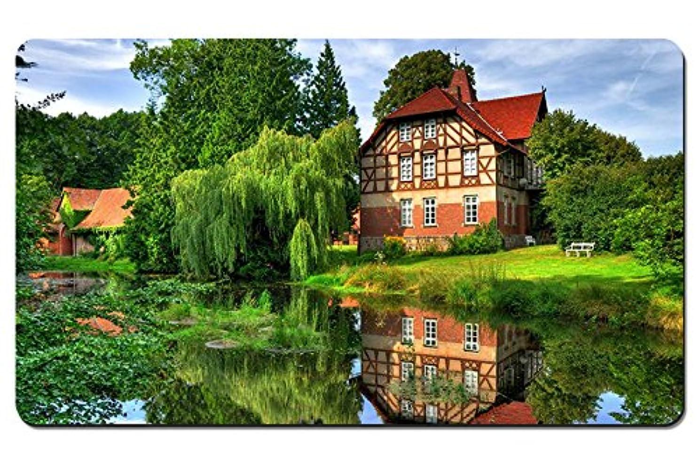 修士号憧れ敵対的風光明媚な家 パターンカスタムの マウスパッド 旅行 風景 景色 デスクマット 大 (60cmx35cm)