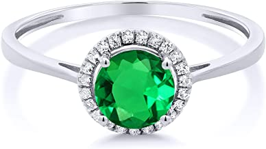 Gem Stone King 10K White Gold Diamond Engagement Ring Round Green Nano Emerald 0.99 cttw (Available 5,6,7,8,9)