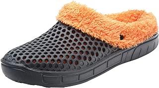 NUWFOR Couple Men Winter Home Slippers Keep Warm Non-Slip Indoors Bedroom Floor Shoes?Gray,7.5-8 M US?