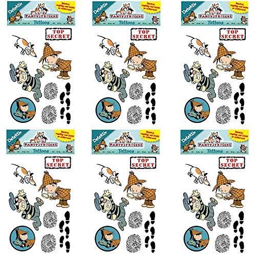 Carpeta 6-teiliges Tattoo-Set * DETEKTIV * von Lutz Mauder | Kinder Kindertattoo Kindergeburtstag Geburtstag Mitgebsel Geschenk Lupe Sherlock Holmes Spion