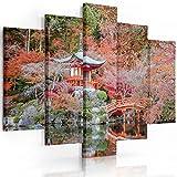 Feeby Frames, Quadro multipannello di 5 Pannelli, Quadro su Tela, Stampa Artistica, Canvas (Giardino Giapponese, Rosso) 100x150 cm, Tipo A