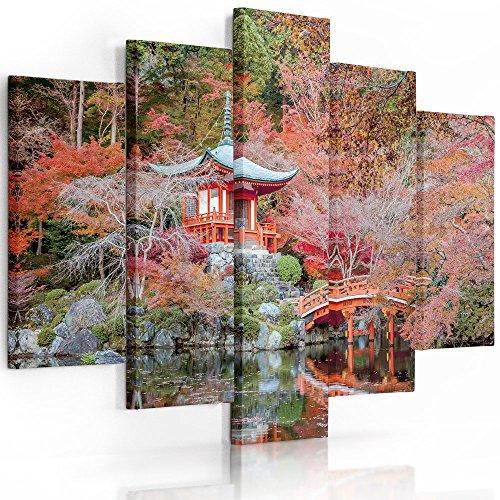 Feeby Frames, Cuadro en lienzo - 5 partes - Cuadro impresión, Cuadro decoración, Canvas (JARDÍN JAPONÉS, ROJO) 200x100 cm, Tipo A