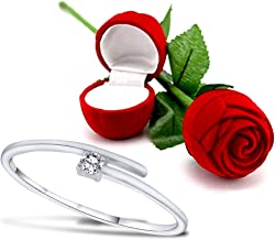 Peora Valentine's Day Gift Hamper of Sleek Solitaire Ring with Red Rose Gift Box for Girlfriend Gift for Valentine/Gift for Girl