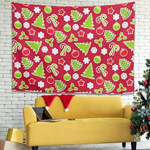 WellWellWell Tapiz multifuncional con diseño de árboles de Navidad, estrellas, nieve, para cortina blanca, 100 x 150 cm