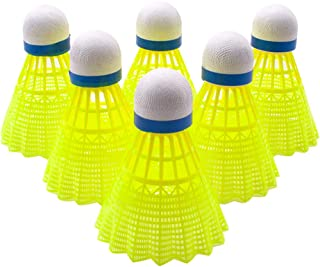 Senston Nylon Badminton Shuttlecocks Sports Birdies Shuttlecock 6PCS for Outdoor Indoor Sports Activities - Yellow