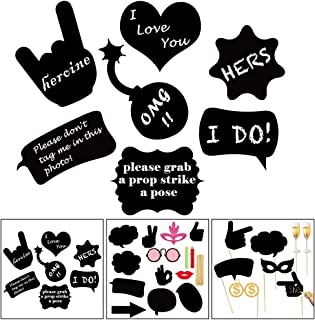 UTOPP 30pcs Party Photo Booth Props, Self Writable DIY Black Cardboard Photographing Props Party Supplies for Wedding Sign Bachelorette 20s 70s 90s Birthday Pose Props
