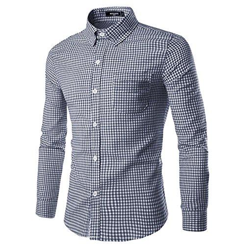 NUTEXROL Camicia a Maniche Lunghe per Uomo, Chiusura con Bottoni Camicia Casual, Scuro Blu, XXL